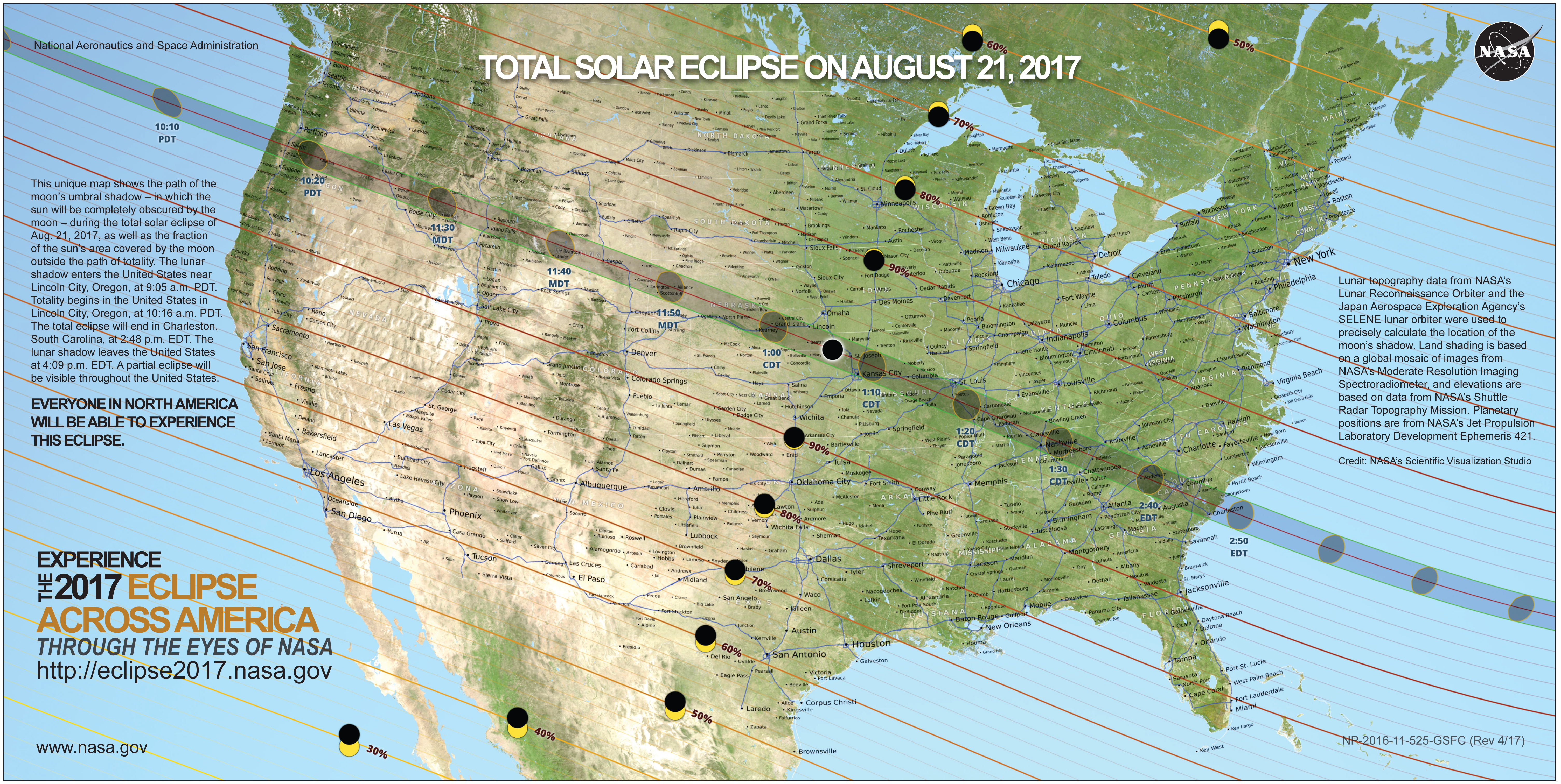 Total Solar Eclipse on August 21, 2017 map